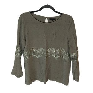 STACCATO Swiss Dot Bell Sleeve Blouse Light Olive